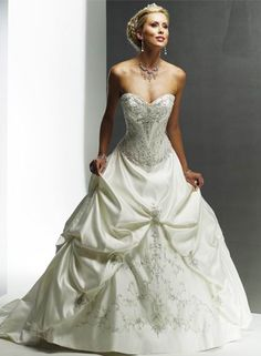Buy 2013 Absorbing aBest Selling Attractive Sweetheart Beads Working Applique Chapel Train Pleated Satin Ball Gown Wedding Dress Online Cheap Prices