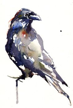 "Lucy Newton; Watercolor, Painting ""Raven"""