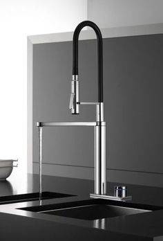 Sleekest looking kitchen faucet ever. Kitchen must have. Black stainless match! #LGLimitlessDesign #Contest