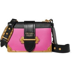 Prada Cahier small two-tone leather shoulder bag found on Polyvore featuring bags, handbags, shoulder bags, pink, prada, pink purse, leather cross body purse, leather crossbody handbags, prada shoulder bag and cross-body handbag