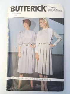 Vtg Richard Warren Design '80 Butterick 6290 Top and Skirt Pattern Uncut Size 12 #Butterick #SewingPattern