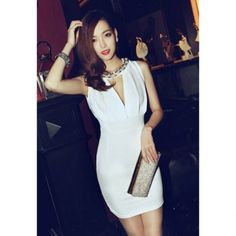 Sexy Plunging Neck Solid Color Bead Embellished Women's Party Dress, WHITE, ONE SIZE in Dresses 2013 | DressLily.com