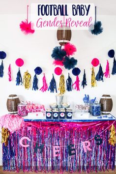 This would be cute since you have taken a liking to football. Cheerleader or Quarterback? Tutus or Touchdowns? Boy or Girl? This darling Football Baby Gender Reveal Party is perfect for the biggest sports fan.and their spouse! Gender Reveal Box, Gender Reveal Themes, Pregnancy Gender Reveal, Gender Reveal Party Decorations, Gender Reveal Invitations, Gender Reveal Football, Pregnancy Photos, Gender Party, Baby Gender Reveal Party