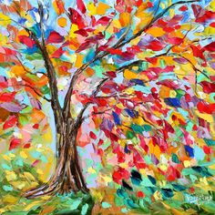 Original oil on canvas Poetry of a Tree palette knife painting by Karensfineart