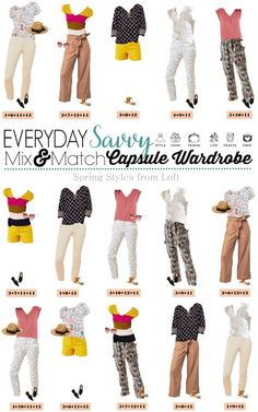Loft Spring Capsule Wardrobe - Mix and Match Outfits - - Casual simple spring Loft capsule wardrobe mix and match outfits. This capsule includes bright yellow, pink, and florals. Perfect for busy moms and travel. Plus Size Capsule Wardrobe, Fall Capsule Wardrobe, Capsule Outfits, Cute Spring Outfits, Cute Comfy Outfits, Casual Fall Outfits, Spring Clothes, Simple Outfits, Stylish Outfits