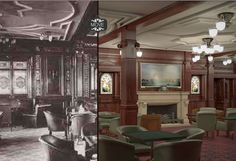 Beautiful new interiors to replicate the original beauty of the original Titanic decor, plus air conditioning; The smoking room then and now Credit: Blue Star Line