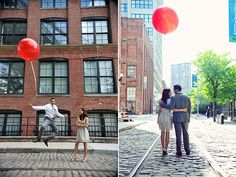 cute engagement shoot in the city