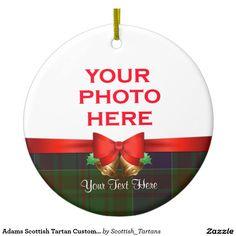 Adams Scottish Tartan Custom Photo Double-Sided Ceramic Round Christmas Ornament