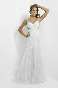 2014 Full Length Beaded Straps Open Back A Line Chiffon Prom Dresses #Chiffon #Prom #Dresses