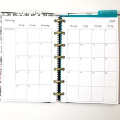 Month on Two Pages Monthly Calendar Inserts for Mini by PlanWithVi