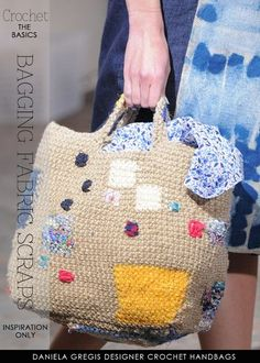 Recycled shirts, sheets and jeans crocheted in simple useful bags - inspiration and patterns by DiaryofaCreativeFanatic