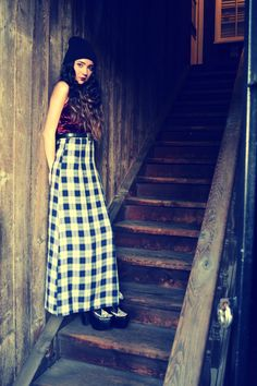 90s Grunge Plaid Maxi Dress