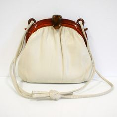60s Leather Purse Lucite Closure now featured on Fab.
