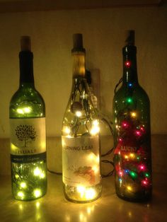Doing this for Christmas!! Wine bottle lamps..so pretty and simple!                                                                                                                                                     More
