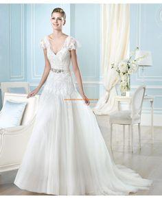 2014 Klassische Brautkleider aus Satin und Tüll V-Ausschnitt