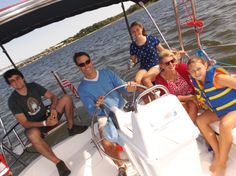 ALABAMA BOATERS - The Baeder family of Auburn, Alabama, took time out from Busch Gardens to sail the unusually high seas of the York River. Because they boat on southern lakes, they enjoyed riding the bow in stiff winds that rocked the sailboat with a mild roller coaster effect.