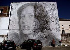 Huge OP Art hand cut stencil portraits by italian street art duo Sten Lex . Stencil Street Art, Stencils, Stencil Art, Urban Street Art, Urban Art, Photographie Street Art, Italian Street, Street Art Photography, Art Deco