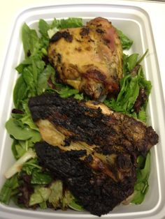 Day 10 (lunch): jerk chicken with mixed greens