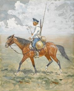 Frederic Remington - Don Cossack; Creation Date: 1892; Medium: Gouache, watercolor and pen on paper; Dimensions: 21.25 X 17.25 in (53.98 X 43.82 cm)