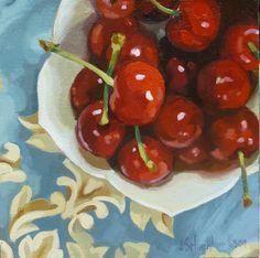 Cherries On Blue Cloth by Joanna Olson