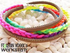 Armbänder     - Leder- Satin- Armband,neon- taupe - ein Designerstück von FrolleinVogel bei DaWanda