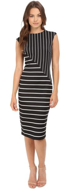 Love the way the black and white stripes create a tension in the design of this sleeveless sheath dress! Casual Dresses, Short Dresses, Fashion Dresses, Dress Skirt, Dress Up, Schneider, Striped Dress, Dress Black, African Dress