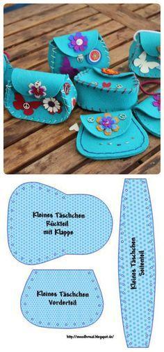 Mini tasjes van Vilt. Leuk om zelf te maken. Gebruik bv 3mm dik Vilt TREND voor een ideale basis. Kijk op de site www.bijviltenzo.nl voor alle viltkleuren