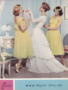 Another glimpse inside a 1960 British Nylon Spinners magazine, the publication that included the article about parachute silk . Vintage Wedding Photos, Vintage Bridal, Vintage Weddings, Simple Weddings, Vintage Dresses, Vintage Outfits, Vintage Fashion, 1950s Dresses, 1960s Fashion