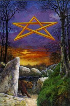 Druid Craft Tarot - Ace of Pentacles Ace Of Pentacles, Le Tarot, Wiccan, Witchcraft, Capricorn And Virgo, Major Arcana, Oracle Cards, Tarot Decks, Tarot Cards