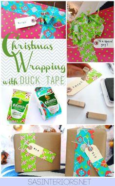 Christmas Wrapping Ideas using Duck Brand EZ Start Holiday Tape by @Jenna_Burger, www.sasinteriors.net