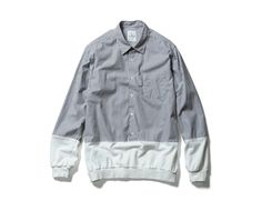uniform experiment RECONSTRUCTED FABRIC MIX PULL OVER REGULAR COLLAR SHIRT