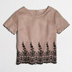 J.Crew+Factory+-+Petite+scalloped+embroidered+linen+shirt
