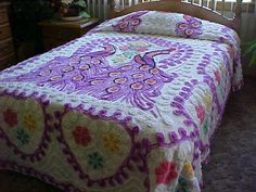 Peacock chenille bedspread white background with by designer2, $169.00
