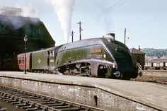 LNER class no. 60034 'Lord Faringdon' arriving on the Glasgow - Aberdeen express passenger train. Diesel Locomotive, Steam Locomotive, Steam Trains Uk, Union Of South Africa, Flying Scotsman, Old Train Station, Rail Transport, Steam Railway, Railway Posters