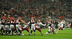 Redskins vs. Bengals:      October 30, 2016  -  TIE: 27-27  -    Washington Redskins kicker Dustin Hopkins (3), right, misses with a field goal attempt in over time during an NFL game between the Cincinnati Bengals and the Washington Redskins at Wembley Stadium in London, Sunday Oct. 30, 2016.