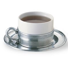Match Pewter Cappuccino Cup & Pewter Saucer - Set of 2 ($360) ❤ liked on Polyvore featuring home, kitchen & dining, drinkware, cappucino cups, couple cups, pewter cups, bear cup and european cup