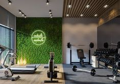 Home Gym on Behance Home Gym Basement, Home Gym Garage, Gym Room At Home, Home Gym Decor, Workout Room Home, Workout Rooms, Gym Interior, Interior Design, Interior Modern