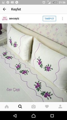 This Pin was discovered by Duy Embroidery Stitches, Embroidery Patterns, Hand Embroidery, Machine Embroidery, Bed Pillows, Cushions, Bargello, Fabric Painting, Bed Covers