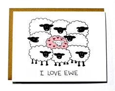 I Love You I love ewe card sheep funny by DarkroomandDearly