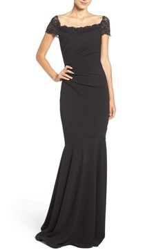 Badgley Mischka Off the Shoulder Mermaid Gown available at #Nordstrom