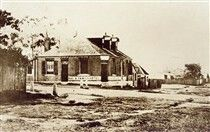 Rag and Famish Hotel at the corner of Miller and Berry Streets,North Sydney in 1860.
