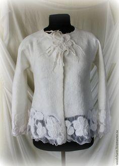 Пиджаки, жакеты ручной работы. Ярмарка Мастеров - ручная работа Жакет валяный Снежные цветы. Handmade.