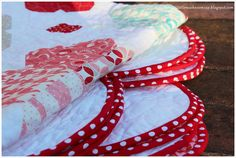 Love those red/white dots on the scalloped edging!  vintage modern I heart Quilt - pose 5 by amira_ameruddin, via Flickr