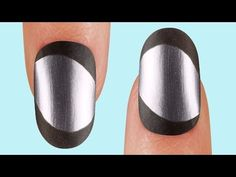 """A chrome base with black satin rim and tips is the future of the French mani! Get this look with """"Push and Shove"""" chrome nail lacquer and the black satin lac. Fun French Manicure, Manicure And Pedicure, French Manicures, Nail Tape, Funky Nails, Great Nails, Nail Art Hacks, Nail Tutorials, How To Do Nails"""