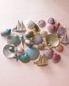 glittered seashell ornaments via marthastewart.com