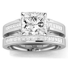 1.19 Carat t.w. Princess Channel Set Princess Cut Diamond Engagement Ring G-H SI1-SI2 http://ift.tt/2l3ssAY