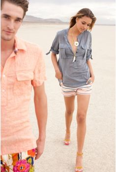 chambray tunic + patterned shorts | trina turk. (I like it when styled tucked in to those shorts!