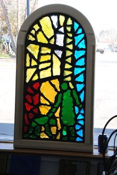 Window for Mexico, dalle de verre (1-inch thick stained glass), hardwood frame