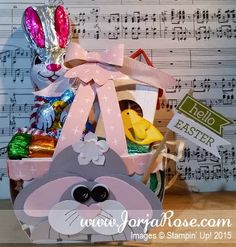 """By Kathe Oldham from """"The JorjaRose Files"""", Punch Art Easter Bunny Basket, featuring Stampin' Up! """"Berry Basket"""" Die ..."""
