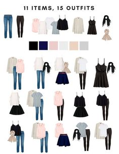 Capsule wardrobe packing for a summer in Europe outfits style summer teenage frauen sommer for teens outfits Europe Travel Outfits, Travel Outfit Summer, Summer Outfits, Cute Outfits, Europe Packing, Travel Europe, Travel Clothes Summer, Packing Outfits For Travel, Outfits For Paris